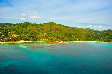Aerial view of the tropical Mahe Island and beautiful lagoons, Seychelles