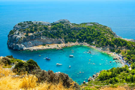 Rhodes, Greece - 14 August 2019: Aerial landscape of Anthony Quinn Bay and beach in Rhodes, Greece