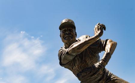 Kansas city, Missouri United States- 6262017 Frank White jr. Royals hall of fame second baseman bronze statue at Kauffman stadium