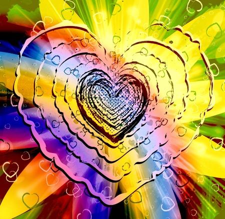 Mousseux multicolores en forme de coeur