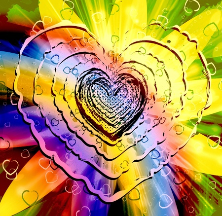vibrations: Sparkling multicolored heart shape Stock Photo
