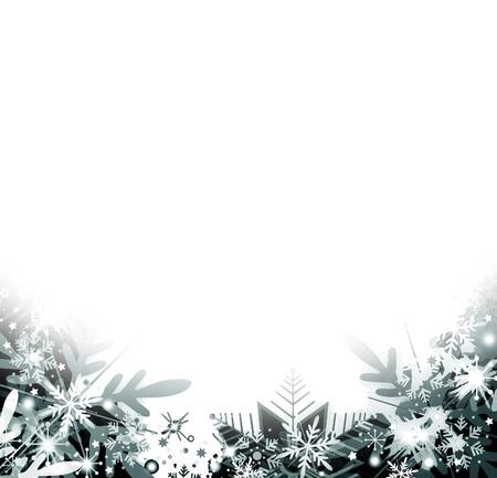 marco blanco y negro: Los copos de nieve de fondo Foto de archivo
