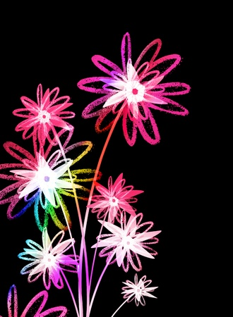 Colorful flowers on a dark background photo