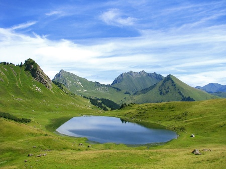 Lake in high French mountains