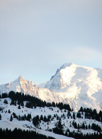 Ski resort in French Alps with Mont Blanc photo