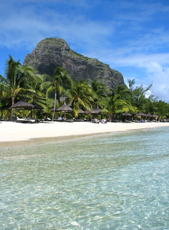 Mauritius beach with Morne photo