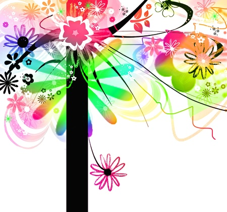 Colorful tree in joyful and springtime concept