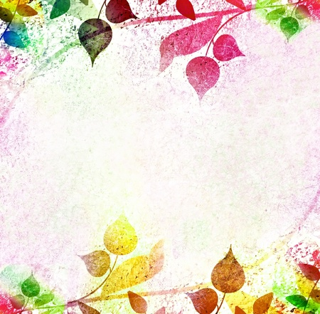 springtime flowers: Multicolored leaves frame and background