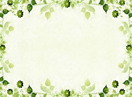 scratch card: Green floral leaves frame Stock Photo