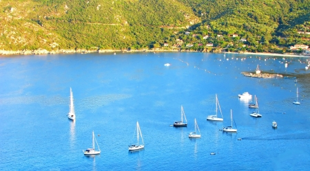 Sailing marina in Campomoro, South of Corsica Stock Photo
