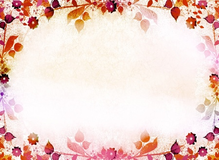 Autumn leaves frame background photo