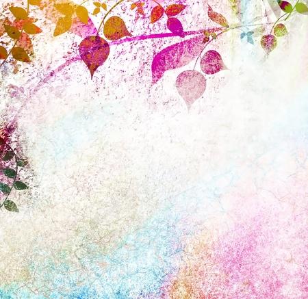 Romantic multicolored leaves background Stock Photo