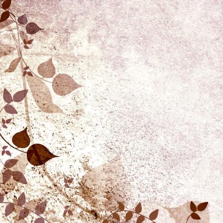 light brown background: Floral vintage leaves background