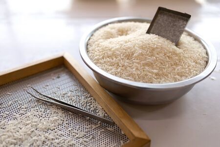 Rice in the enamelware And equipment for rice quality inspection for export All laid on a white table