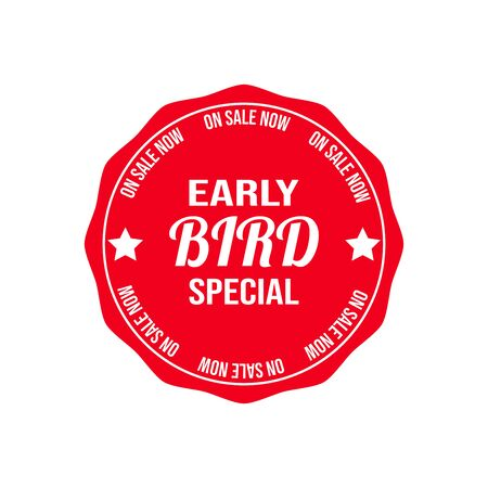 Early Bird Special now on sale sign badge vector on a white background.