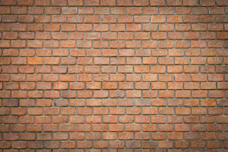 Wide angle of red brick wall texture for background. Loft wall for coffee shop. Imagens