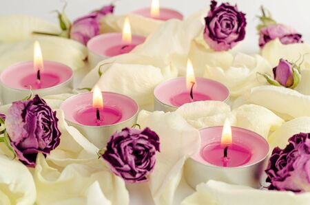 Harmony and Aromatherapy concept. Burning aroma candles, dried roses and petals background.