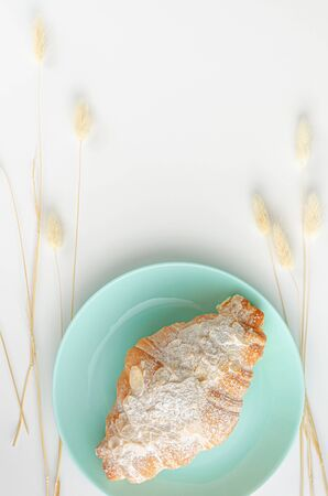 Freshly baked croissant for breakfast on turquoise plate. Overhead, top view. Copy space