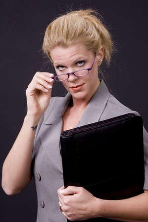 hot secretary: Blond businesswoman executive with portfolio