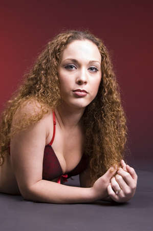 crimped: Crimped red haired model