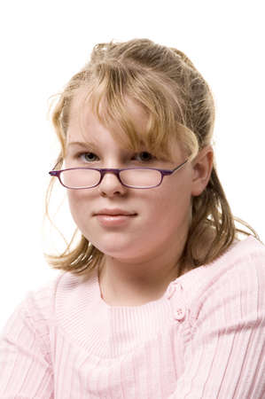 Young blond girl with glasses
