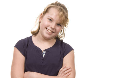 Young blond girl smiling