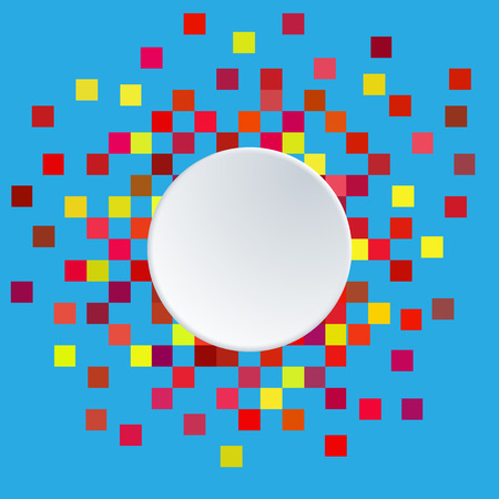 White paper circle banner and Pixel background. Illustration