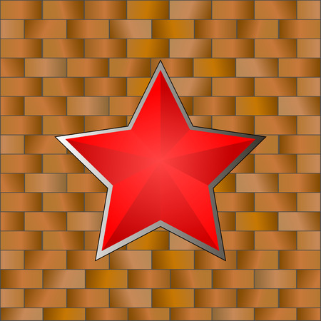 Red Star with Brick Wall. 23 February. Vector Illustration Illustration