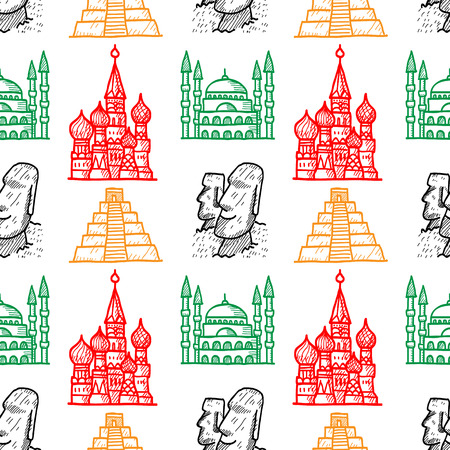 Attractions of the world seamless pattern, background with hand drawn famous landmarks. Vector
