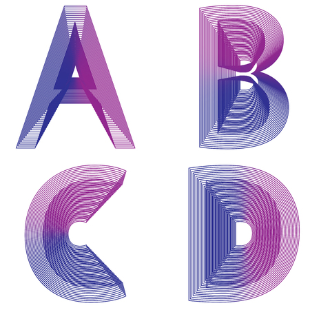 Abstract alphabet ABCD letter neon lines vector EPS 10