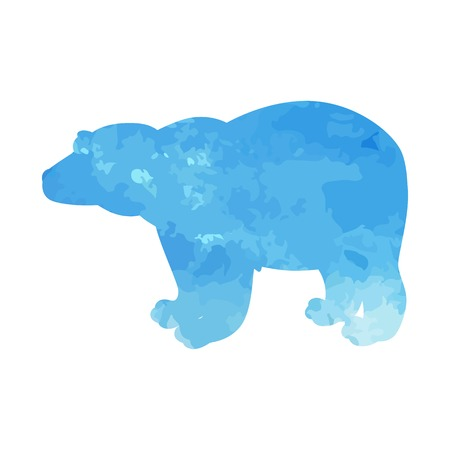 Polar bear watercolor isolated. Vector illustration