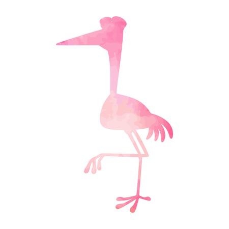 Heron pink watercolor isolated. Vector illustration