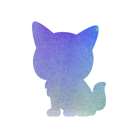 Watercolor Cat Art Silhouette Isolated Vector illustration