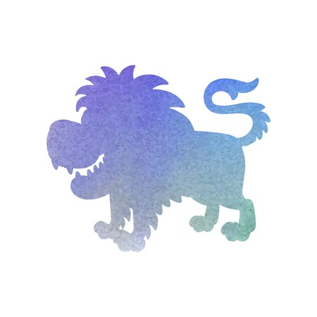 Watercolor silhouette of a lion on an isolated background. Vector