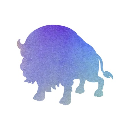 Watercolor silhouette of a bull on an isolated background. Vector