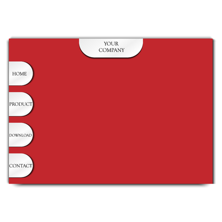 Red web site template with metal menu buttons. Vector