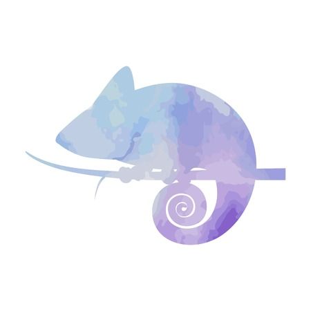 Watercolor silhouette chameleon on isolated background. Vector Illustration