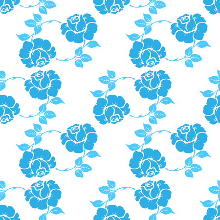 Seamless pattern with blue flowers on isolated background. Illustration