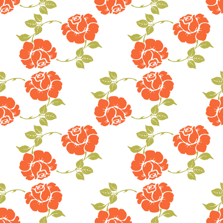 Seamless retro pattern with orange flowers on isolated background. Vector