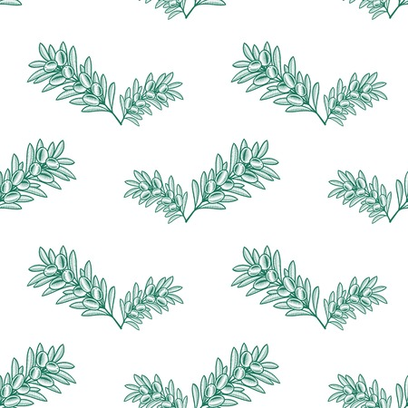 Seamless blue olive branch pattern hand drawn design. Vector