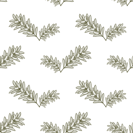 Seamless olive branch pattern hand drawn design. Vector Illustration