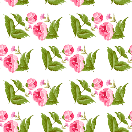 Seamless pattern with flowers and leaves. Vector floral background Illustration