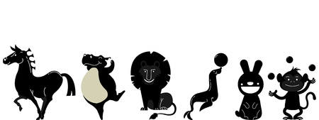 Set of silhouettes of cartoon circus animals. Vector