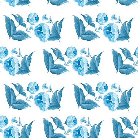 Monochrome blue seamless watercolor flower pattern with roses and leaf.