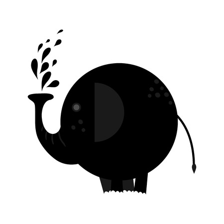 Funny baby elephant with spray water drops. Vector