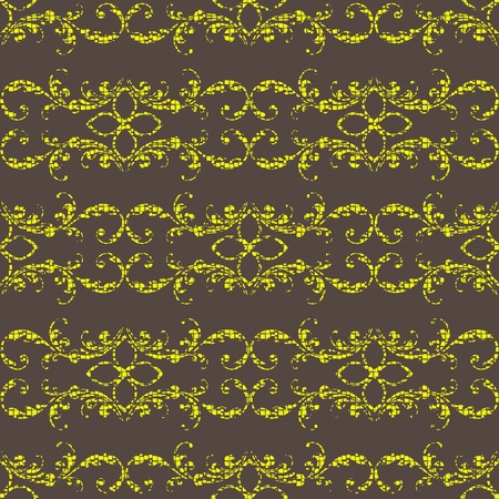 Seamless retro background with gold floral ornament. Vector