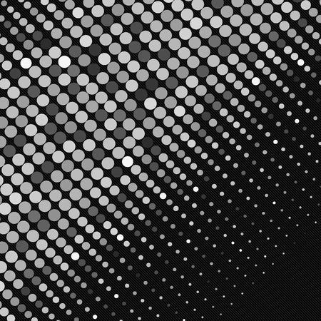 Black-and-white points abstract scatter banner. Vector