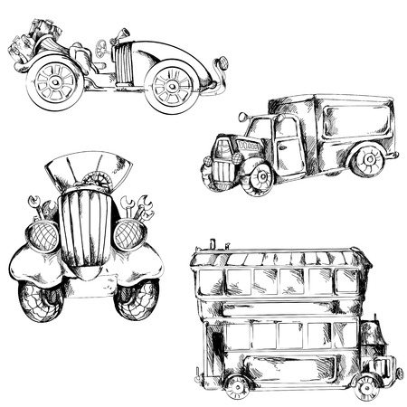 A collection of hand-drawn sketches of retro cars. Vector