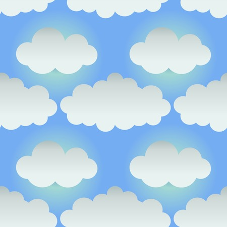 Seamless background with paper clouds. Cartoon style. Vector illustration Illustration