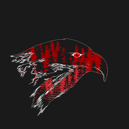 Double exposure of the head of an eagle with a forest. Vector art logo EPS 10 Illustration